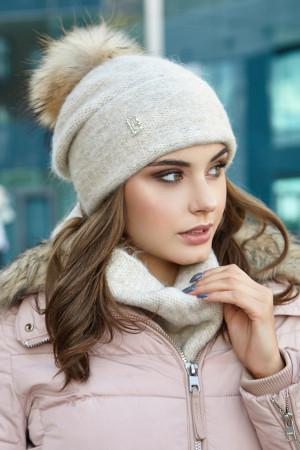 Комплект «Лісбет» (шапка та шарф-хомут) кольору світлої кави