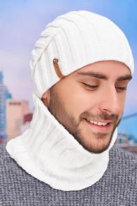 Чоловічий комплект «Флоріан» (шапка-ковпак, баф) білого кольору