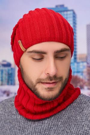 Чоловічий комплект «Флоріан» (шапка-ковпак, баф) червоного кольору