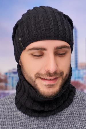 Чоловічий комплект «Флоріан» (шапка-ковпак, баф) чорного кольору