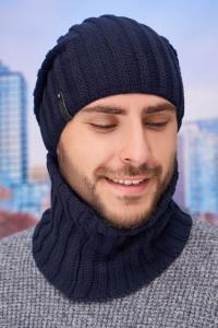 Чоловічий комплект «Флоріан» (шапка-ковпак, баф) джинсового кольору