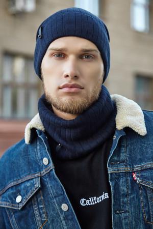 Чоловічий комплект «Хорс» (шапка, шарф-снуд) джинсового кольору