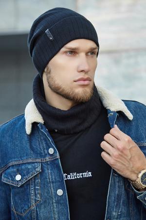 Чоловічий комплект «Хорс» (шапка, шарф-снуд) чорного кольору