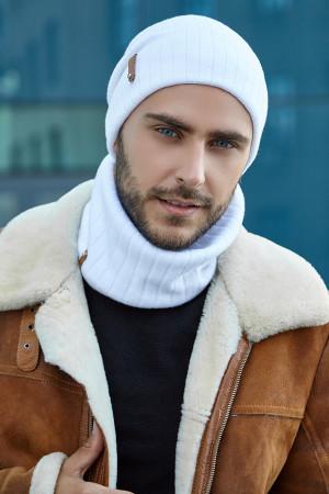 Чоловічий комплект «Хорс» (шапка, шарф-снуд) білого кольору