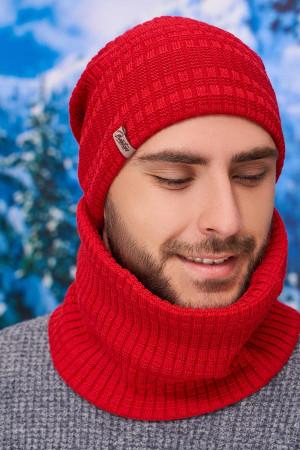 Чоловічий комплект «Кемпбел» (шапка-ковпак, шарф-баф) червоного кольору