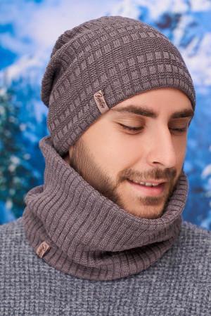 Чоловічий комплект «Кемпбел» (шапка-ковпак, шарф-баф) кольору темної кави