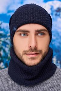 Чоловічий комплект «Вінс» (шапка-ковпак, баф) джинсового кольору