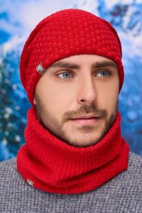 Чоловічий комплект «Вінс» (шапка-ковпак, баф) червоного кольору