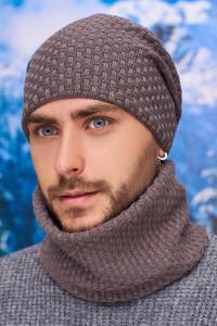 Чоловічий комплект «Вінс» (шапка-ковпак, баф) кольору темної кави