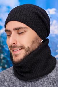 Чоловічий комплект «Вінс» (шапка-ковпак, баф) чорного кольору