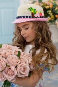 Детская шляпа-федора «Картун» розового цвета