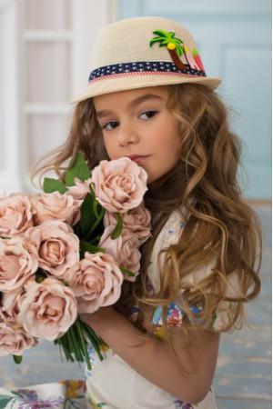 Дитячий капелюх-федора «Картун» бежевого кольору