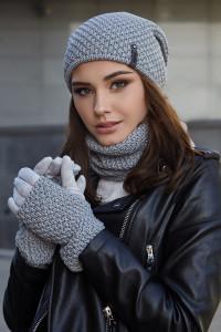 Комплект «Осірія» (шапка, баф, рукавички) світло-сірого кольору