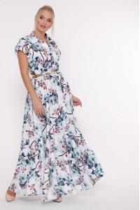 Платье «Алена» с голубым принтом