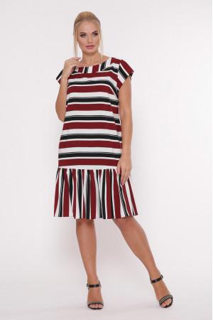 Сукня «Яна» в бордову смужку