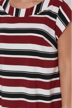 Платье «Яна» в бордовую полоску