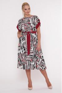 Сукня «Ірина» з бордовим принтом