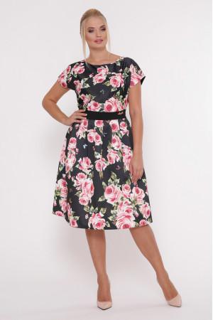 Сукня «Лорен» чорного кольору з трояндовим принтом