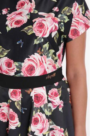 Платье «Лорен» черного цвета с розовым принтом