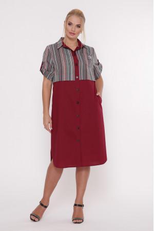 Сукня-сорочка «Лана» бордового кольору в темну смужку