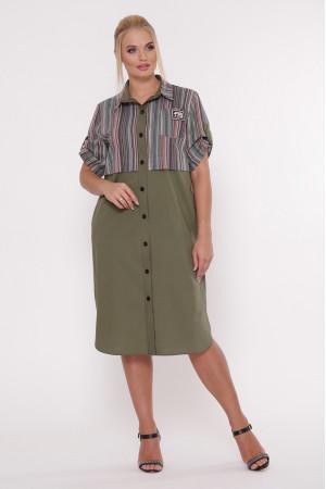 Платье-рубашка «Лана» оливкового цвета в темную полоску