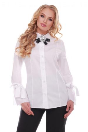 Блуза «Агата» білого кольору з брошкою