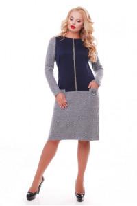 Платье «Кэти» с синим декором (джерси)