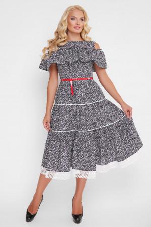 Платье «Таяна» с принтом-фиалками