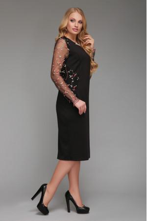 Платье «Адель» черное с красными цветами