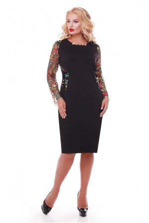 Платье «Адель» черное в разноцветные цветы