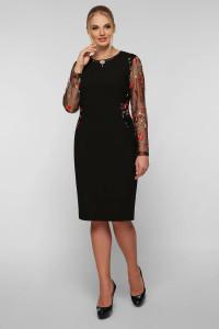 Сукня «Адель» чорного  кольору з маками