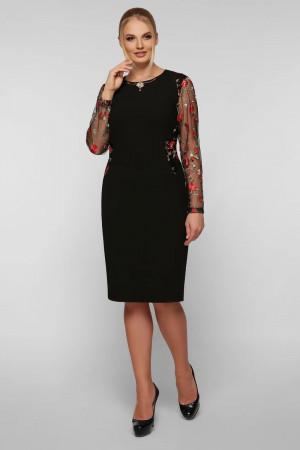 Платье «Адель» черного цвета с маками