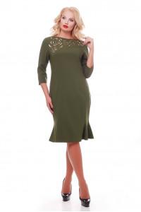 Платье «Анюта» оливкового цвета