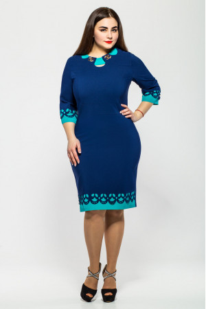Платье «Офелия» синего цвета с бирюзовым
