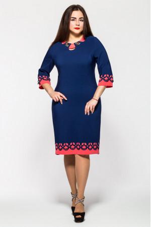 Платье «Офелия» синего цвета с коралловым