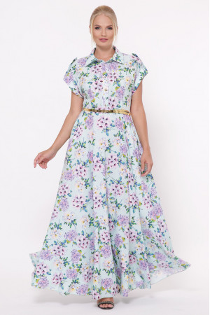 Платье «Алена» мятного цвета с гортензиями