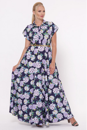 Платье «Алена» синего цвета с гортензиями