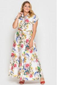 Платье «Алена» белого цвета с принтом-гортензии