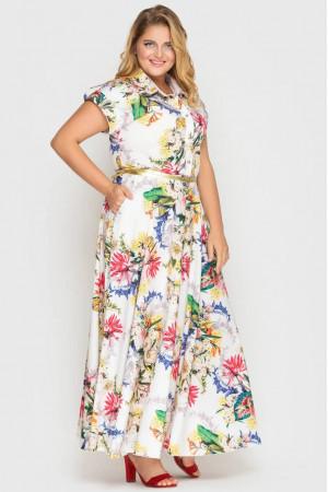 Сукня «Альона» білого кольору з принтом-гортензії