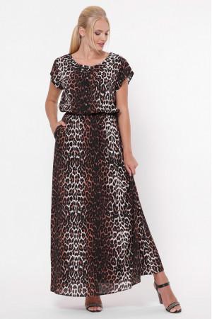 Платье «Влада» принт темный леопард