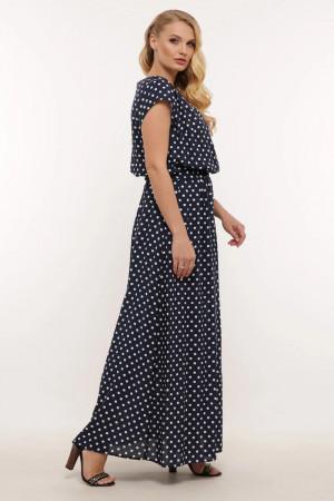 Платье «Влада» синего цвета с мелкими горошинами