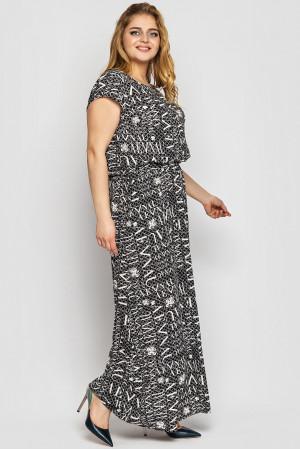 Платье «Влада» черно-белого цвета с газетным принтом