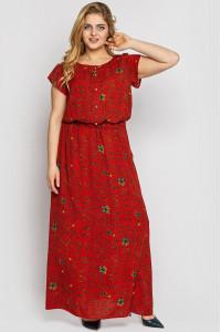 Платье «Влада» цвета охры с газетным принтом