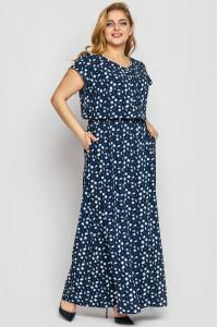 Платье «Влада» синего цвета с принтом-камни