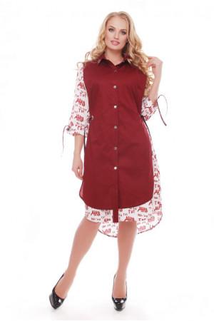 Платье «Евгения» бордовое с принтом