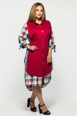 Платье «Евгения» бордовое в клеточку