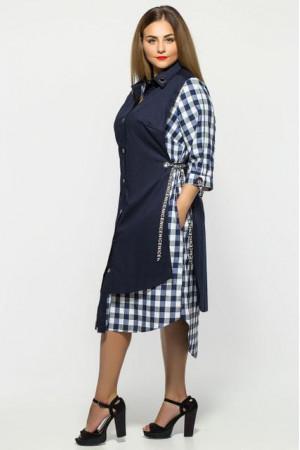 Платье «Евгения» синее в клеточку