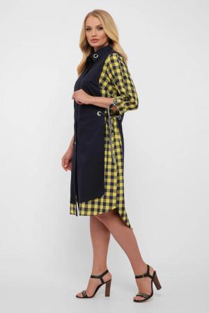 Платье «Евгения» темно-синего цвета с горчичным принтом