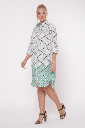 Платье-рубашка «Сати» с принтом зеленый фьюжн