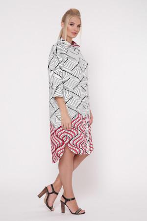 Платье-рубашка «Сати» с принтом красный фьюжн